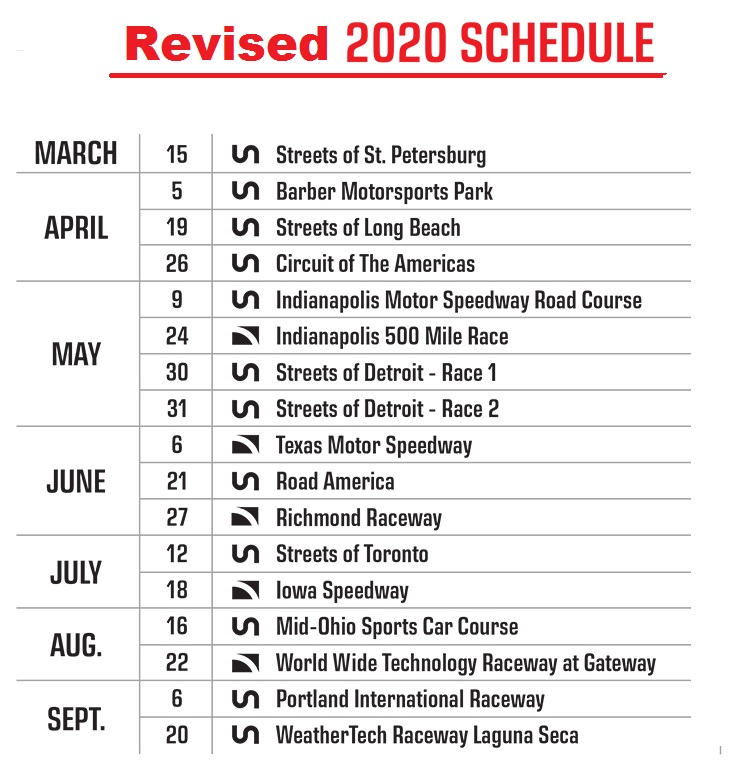 IndyCar New Schedule 2020 After Covid 19 Pandemic Live Stream